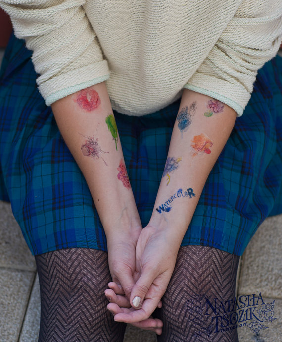 10 Temporary Tattoos with Watercolor Flowers and Animals