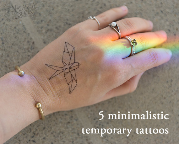 5 Minimalistic Temporary Tattoos (6 different design options)