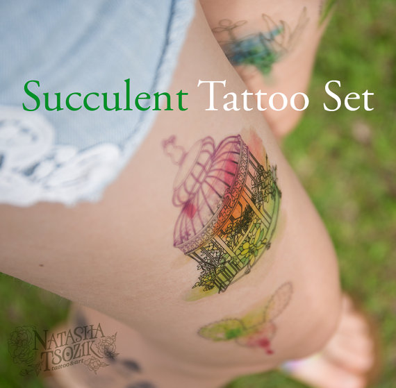 5 Temporary Tattoos with Watercolor Succulents