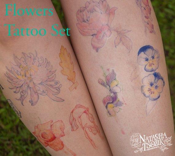 8 Temporary Tattoos with Watercolor Flowers