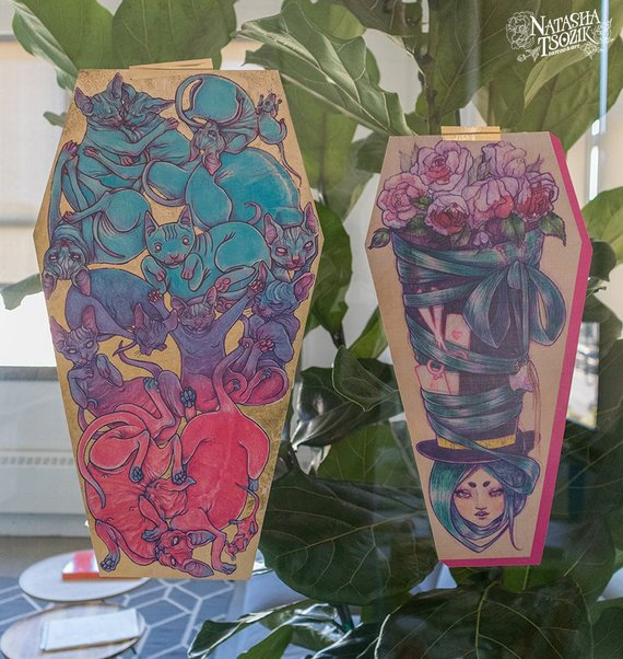 Coffin Shaped Prints on Textured Paper. Cats and Mad Hatter