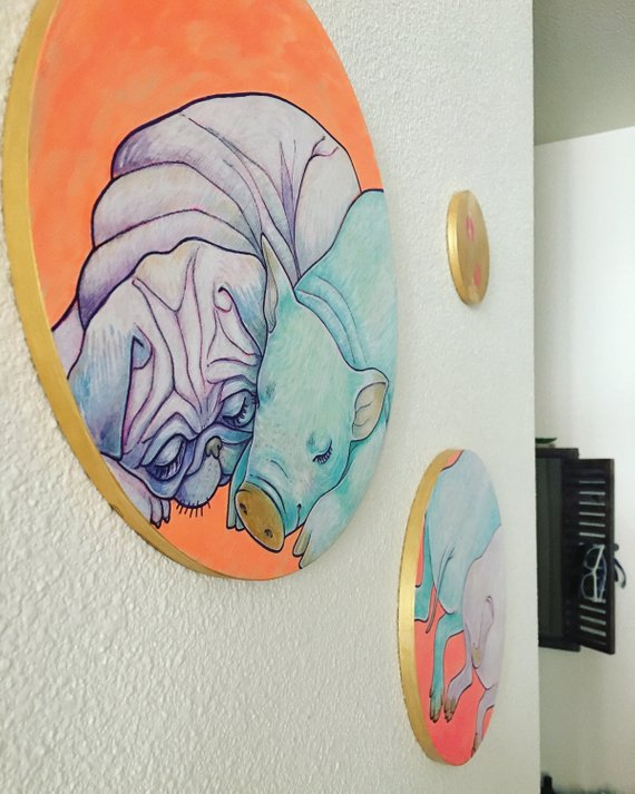 Equal on Wood Panels. 3 paintings all together. Pug and Pig