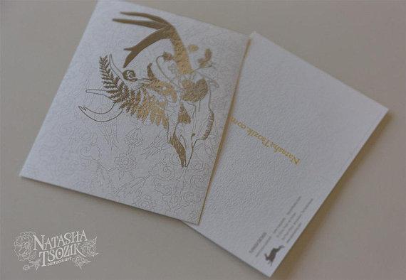 Foil Deer Skull Postcard on Patterned Watercolor Paper
