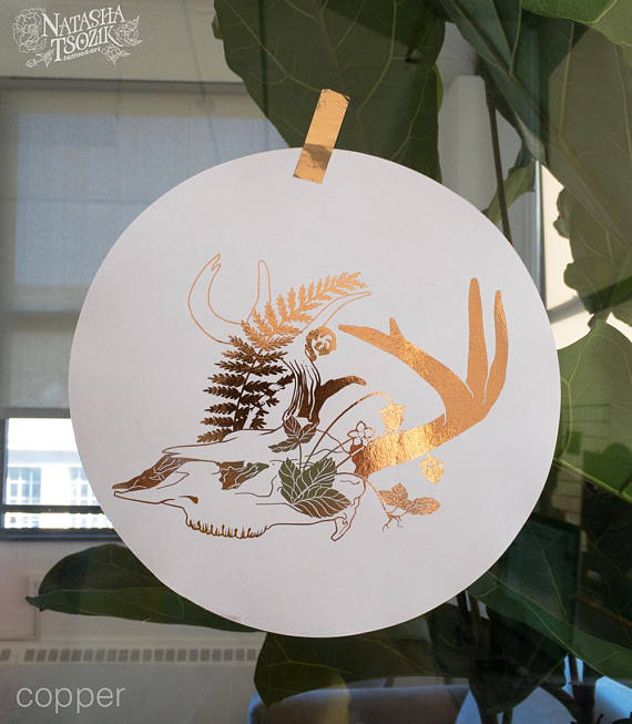 Foil Deer Skull, Strawberry and Fern print on Paper Circle