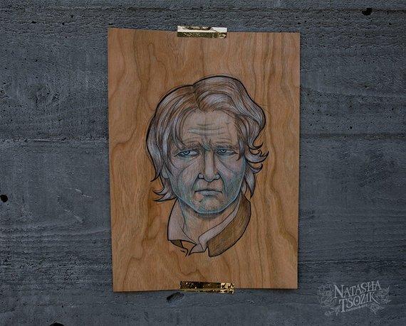 Han Solo Portrait on Real Wood Sheet