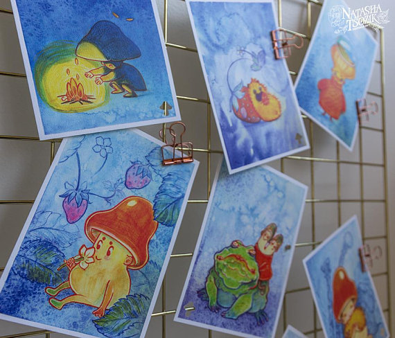 Mushroom Postcards (ten, three or one) on Holographic, Textured or Shimmer Paper