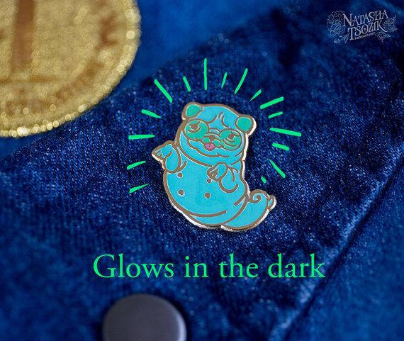 Pug Ghost Enamel Pin that Glows in the Dark. Hard Enamel Lapel Pin.