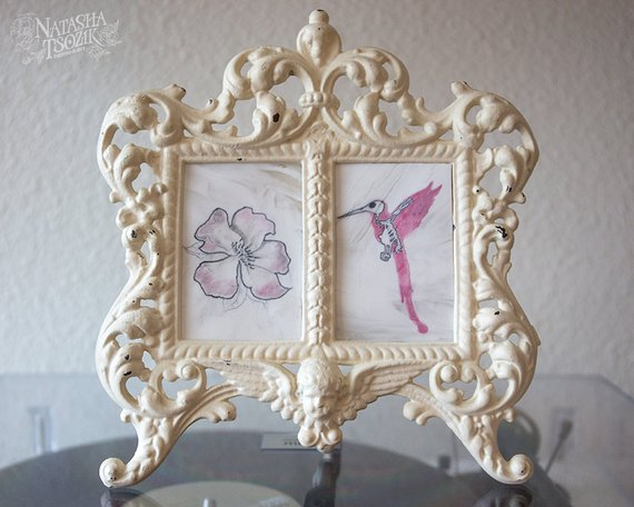 Real Tattoo with Watercolor Flower and Hummingbird on Silicone Skin in Victorian Frame