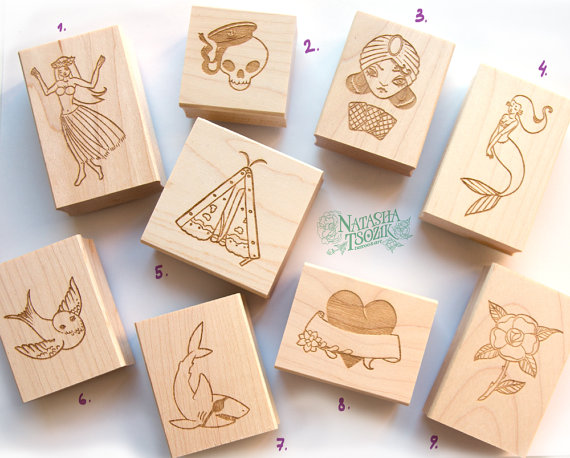 Rubber Stamp with Traditional Tattoos Attached to Wooden Block