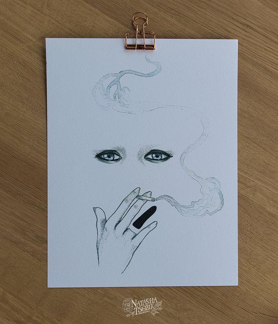 Tannenbaum Print on Textured Paper. Smoke and Hand