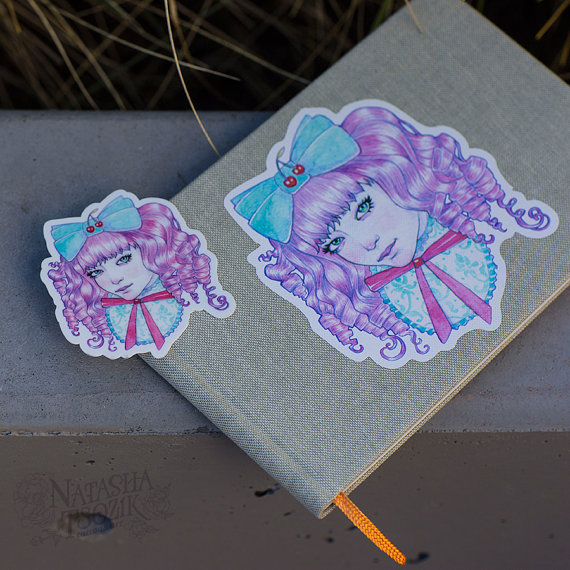 Watercolor Book and Sticker with Japanese Lolita